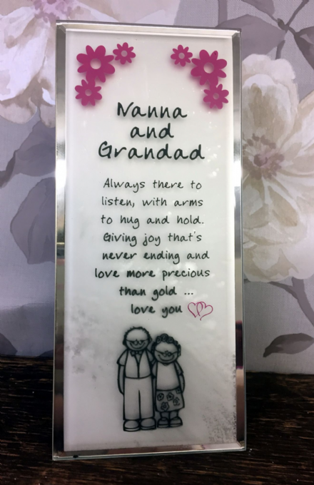 Nanna and Grandad Love You Glass Message Plaque - Freestanding